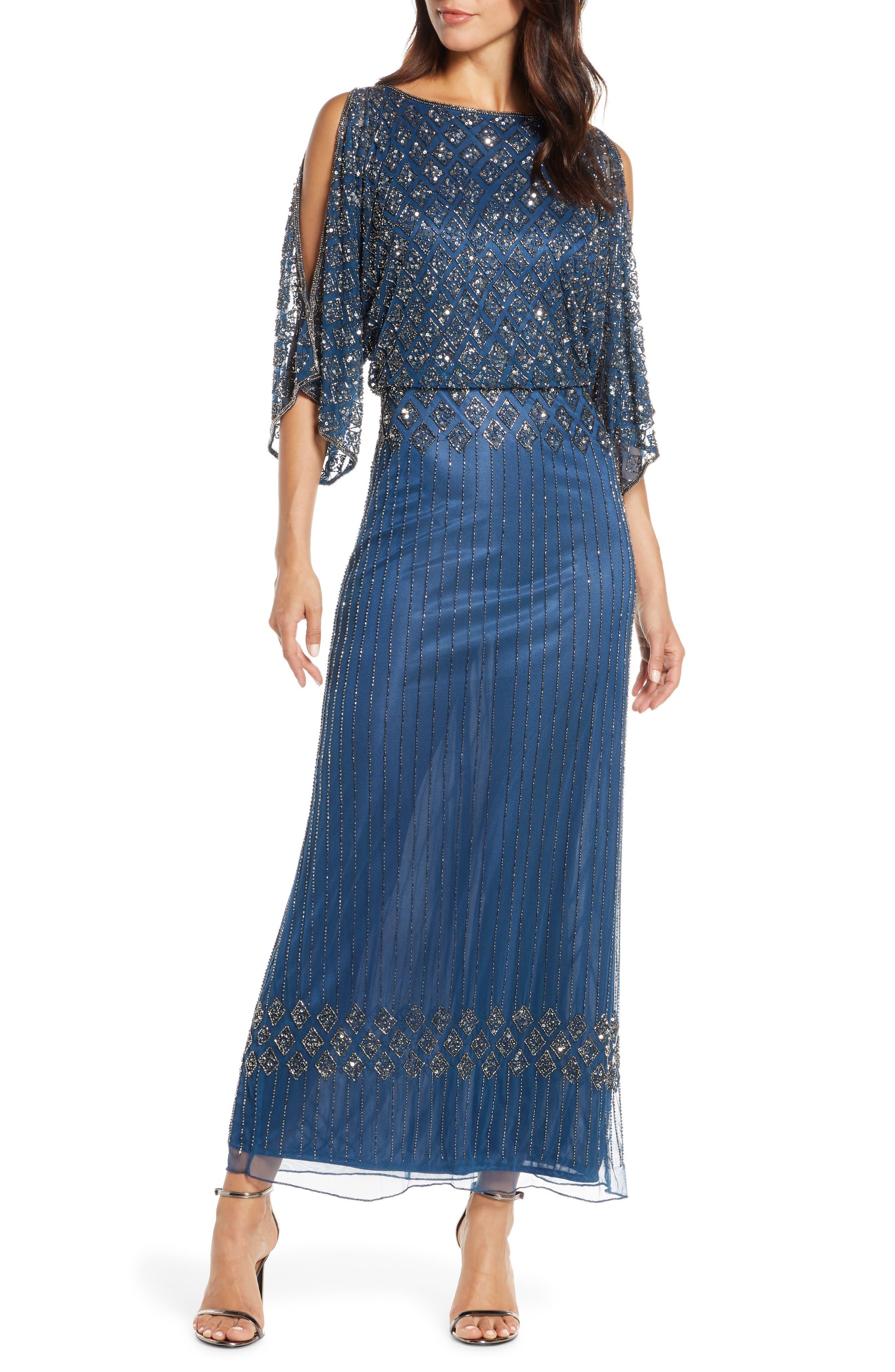 Charleston Dress: Fringe Flapper Dress Womens Pisarro Nights Diamond Motif Mesh Blouson Gown Size 16 - Blue $198.00 AT vintagedancer.com