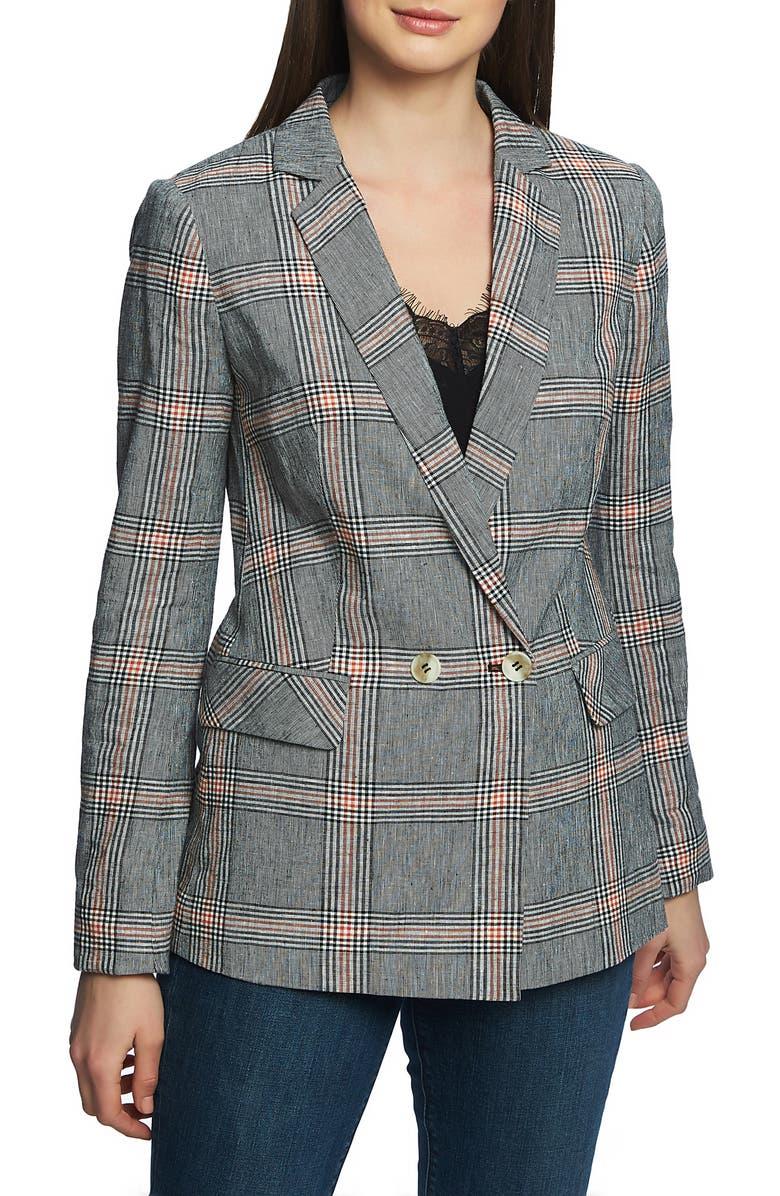 1.STATE Plaid Linen & Cotton Blazer, Main, color, BLACK AND CORAL