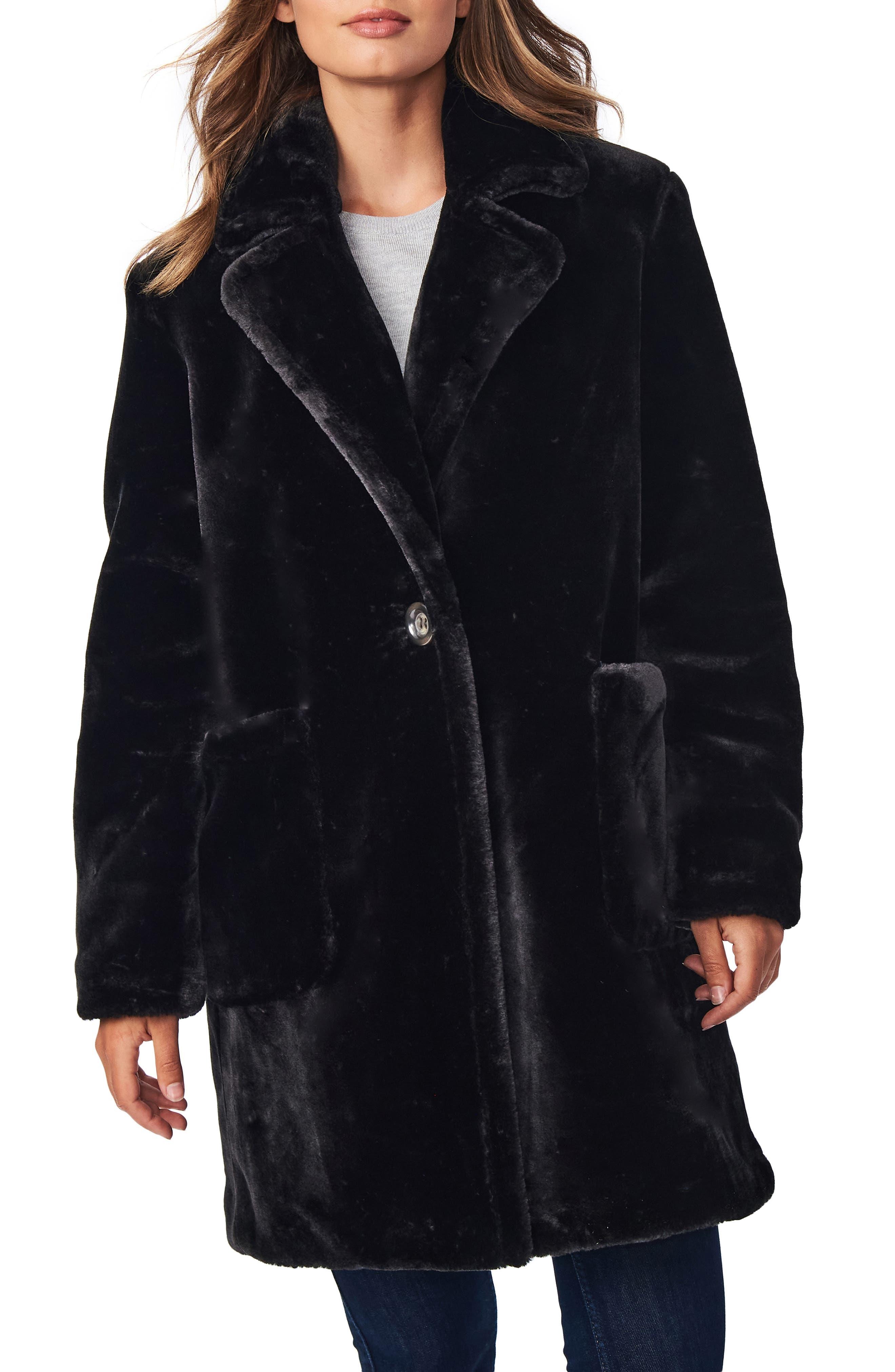1920s Coats, Furs, Jackets and Capes History Womens Bernardo Smooth Faux Fur Long Coat $99.90 AT vintagedancer.com