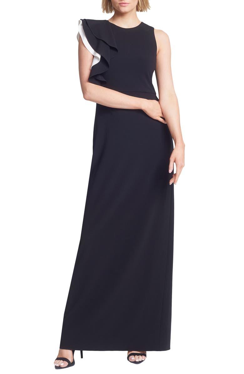 HALSTON HERITAGE Contrast Ruffle Sleeve Crepe Sheath Gown, Main, color, BLACK/ CHALK