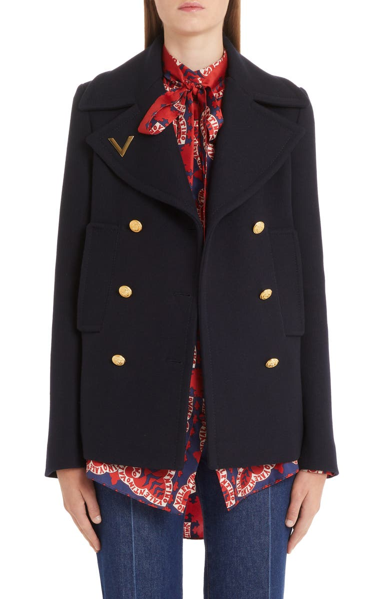 VALENTINO V-Detail Double Face Wool Peacoat, Main, color, NAVY