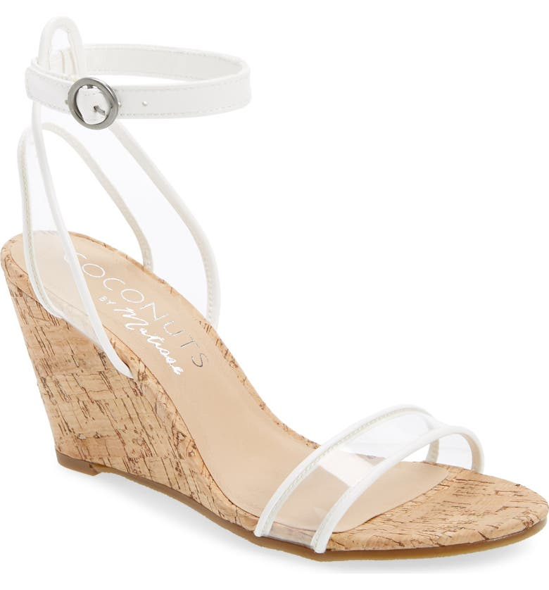 COCONUTS BY MATISSE Visions Wedge Sandal, Main, color, WHITE FAUX LEATHER