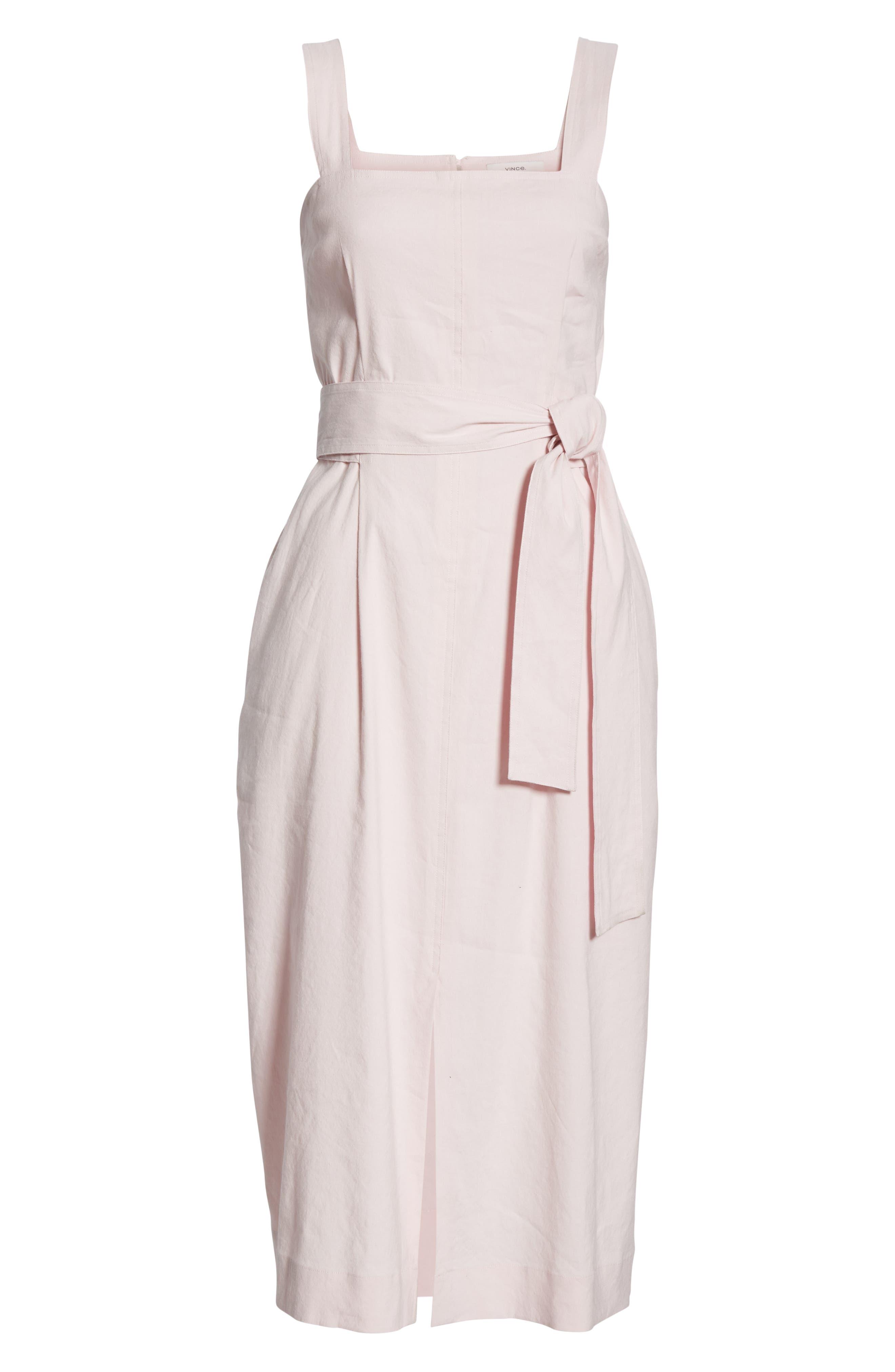 ,                             Wide Strap Belted Linen Blend Dress,                             Alternate thumbnail 7, color,                             ROSA SECO