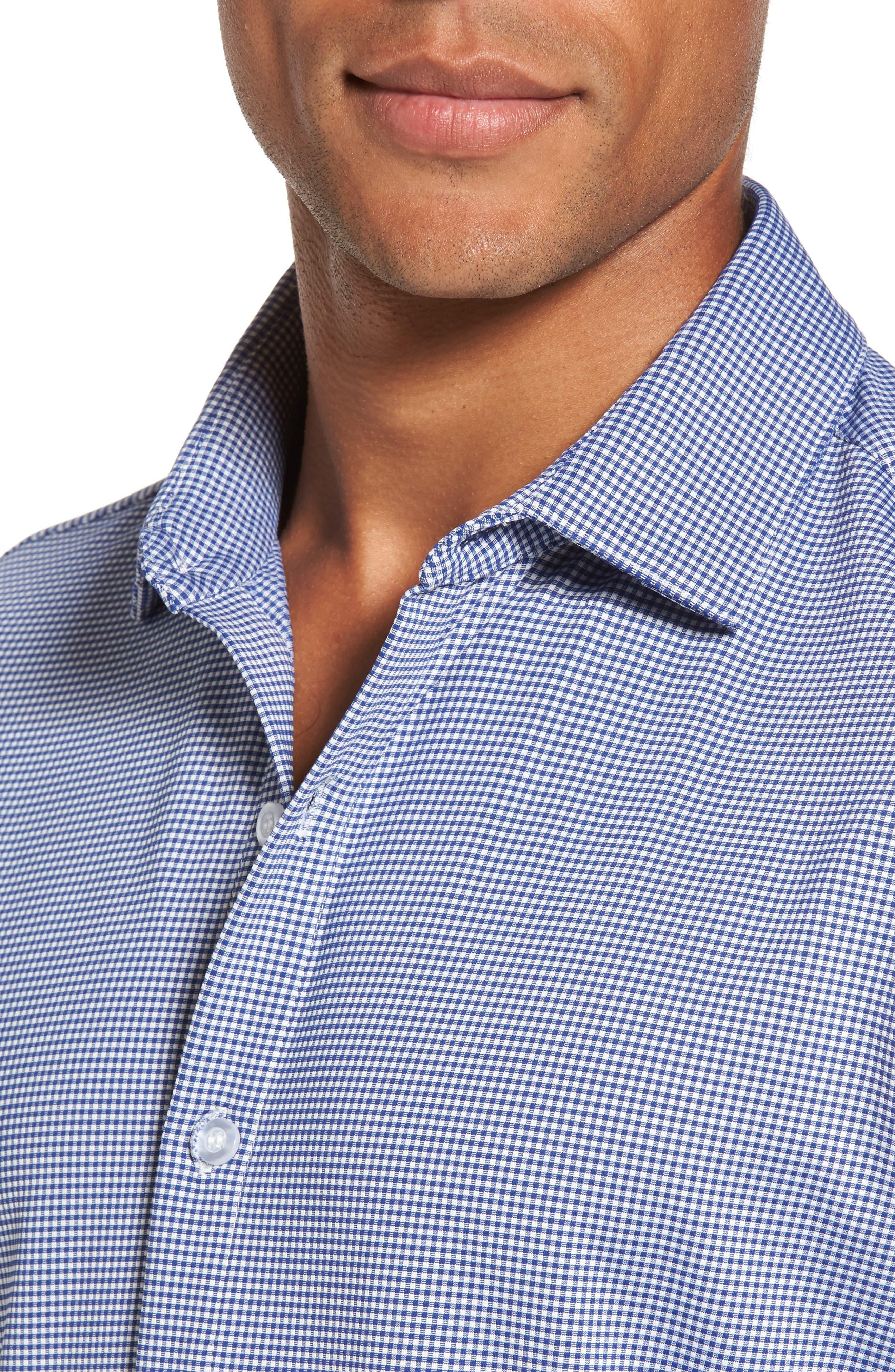 ,                             Beckett Trim Fit Gingham Sport Shirt,                             Alternate thumbnail 4, color,                             BLUE