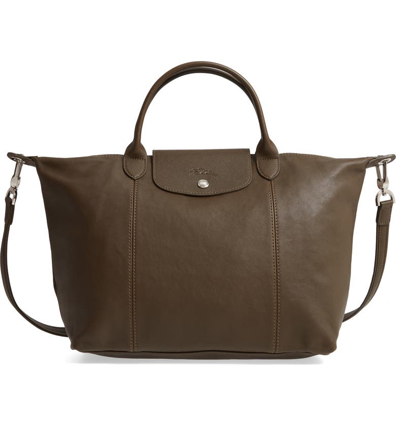 LONGCHAMP Medium 'Le Pliage Cuir' Leather Top Handle Tote, Main, color, 301