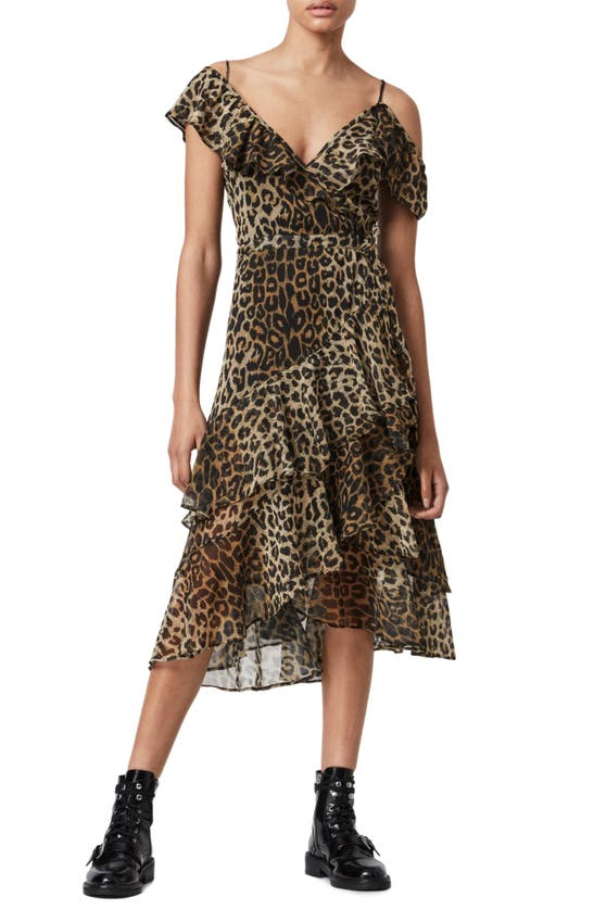 Allsaints Kari Leppo Animal-print Woven Mini Dress In Leopard Yellow