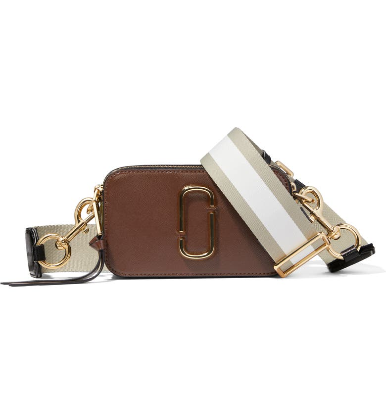 THE MARC JACOBS The Snapshot Leather Crossbody Bag, Main, color, CLASSIC BROWN MULTI