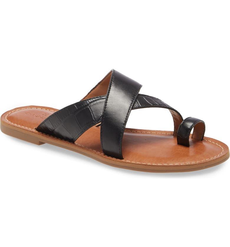 CASLON<SUP>®</SUP> Oskar Flat Slide Sandal, Main, color, BLACK LEATHER