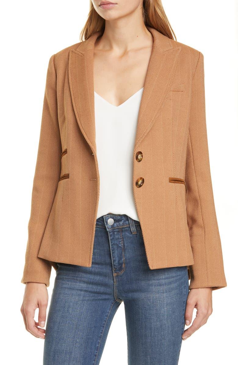 VERONICA BEARD Hudson Plaid Wool Blend Dickey Jacket, Main, color, KHAKI