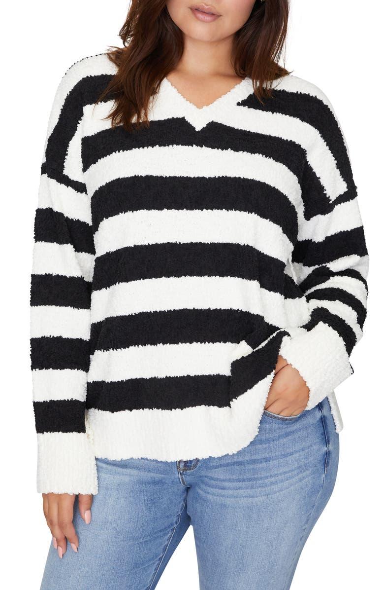 SANCTUARY V-Neck Teddy Sweater, Main, color, CLOUD/ BLACK STRIPE