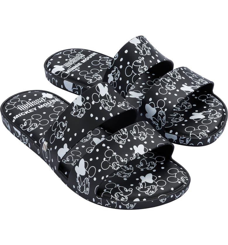 MELISSA Color Pop Mickey Slide Sandal, Main, color, BLACK RUBBER