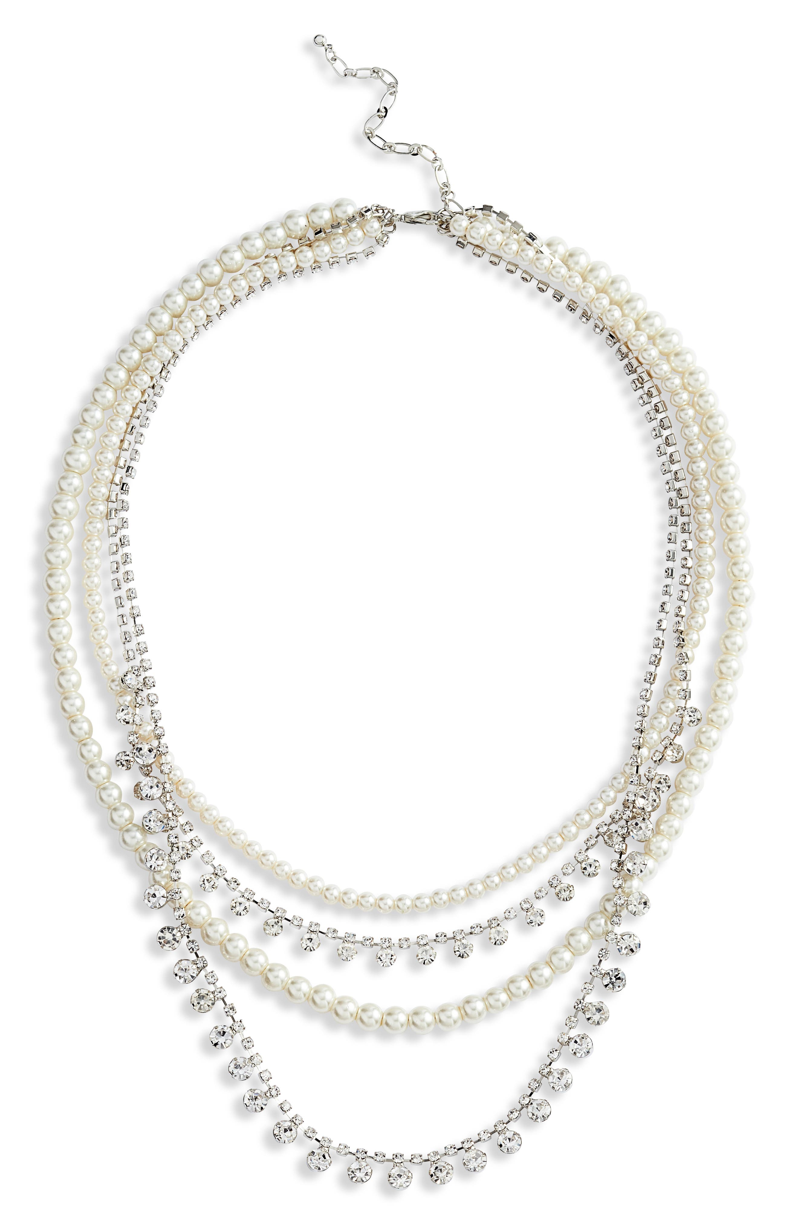 Imitation Pearl & Crystal Layered Necklace