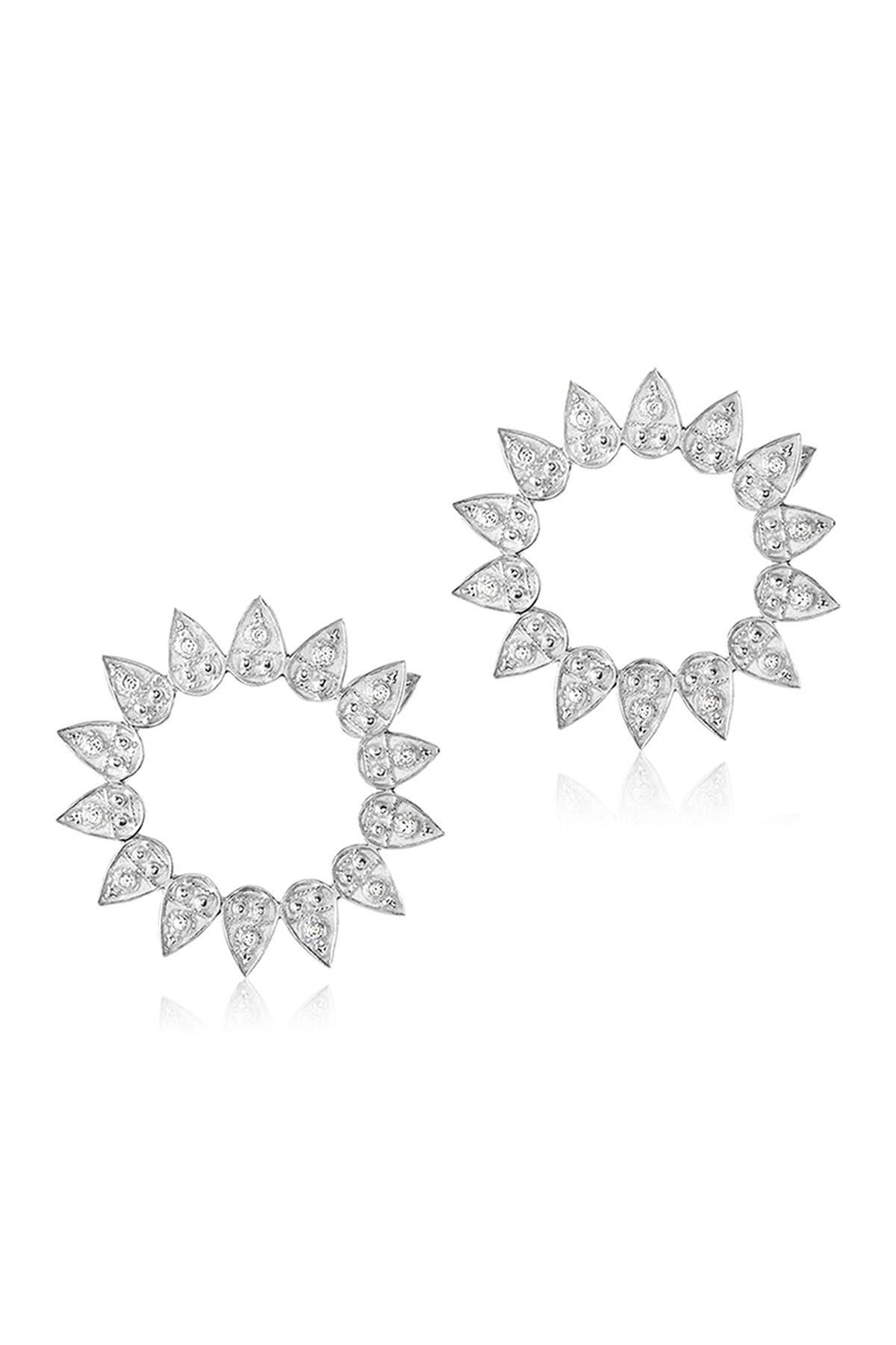 Image of LEGEND AMRAPALI SILVER Sterling Silver Heritage Petal White Diamond Circle Drop Earrings - 0.26 ctw