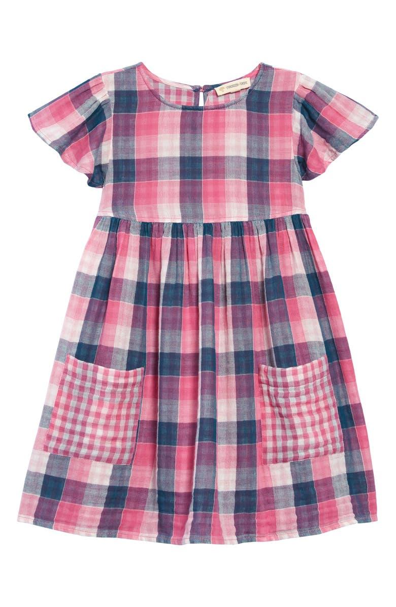 TUCKER + TATE Pretty Check Dress, Main, color, PINK SHOCK MULTI PLAID