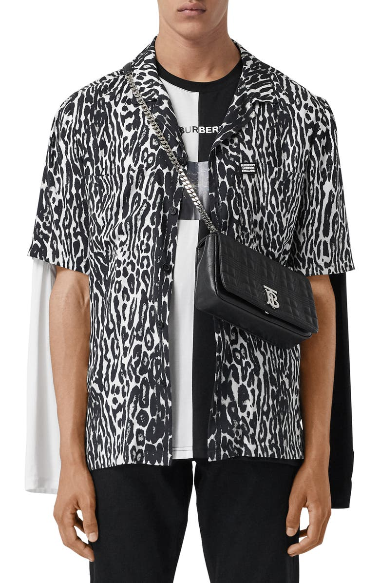 BURBERRY Radley Short Sleeve Button-Up Shirt, Main, color, BLACK IP PAT
