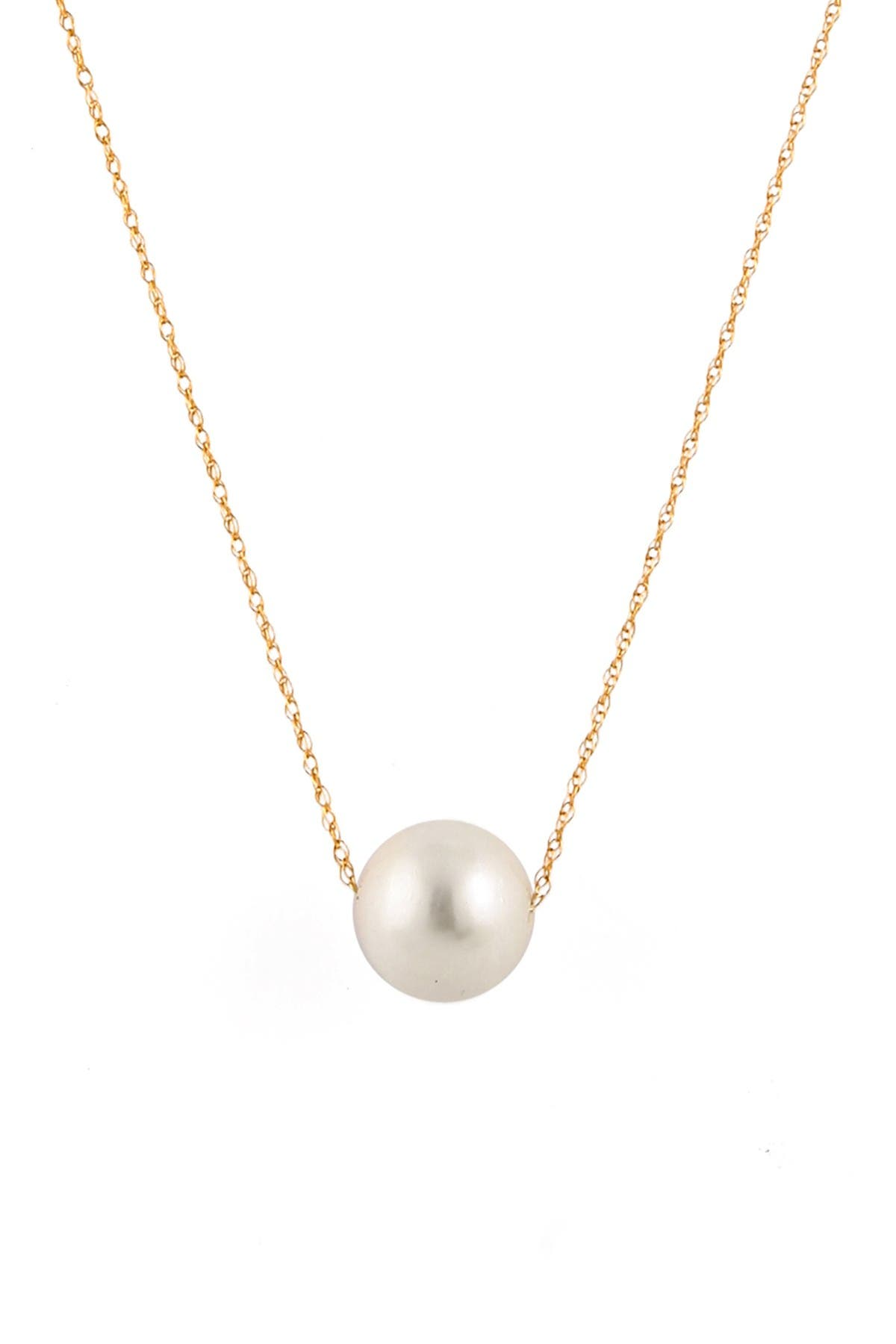 Image of Splendid Pearls 14K Yellow Gold 10-11mm White Freshwater Pearl Slider Necklace