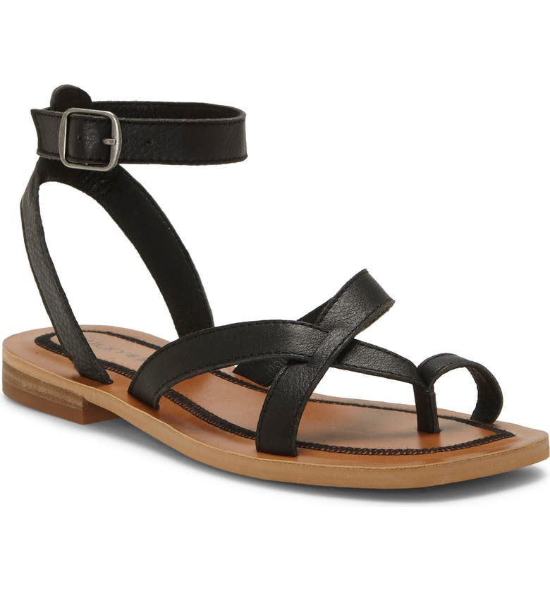 LUCKY BRAND Avonna Sandal, Main, color, BLACK LEATHER
