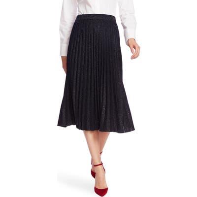 Court & Rowe Pleated Metallic Knit Midi Skirt, Blue