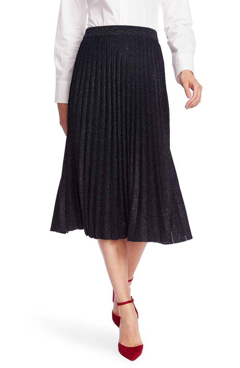 COURT & ROWE Pleated Metallic Knit Midi Skirt, Main, color, 432