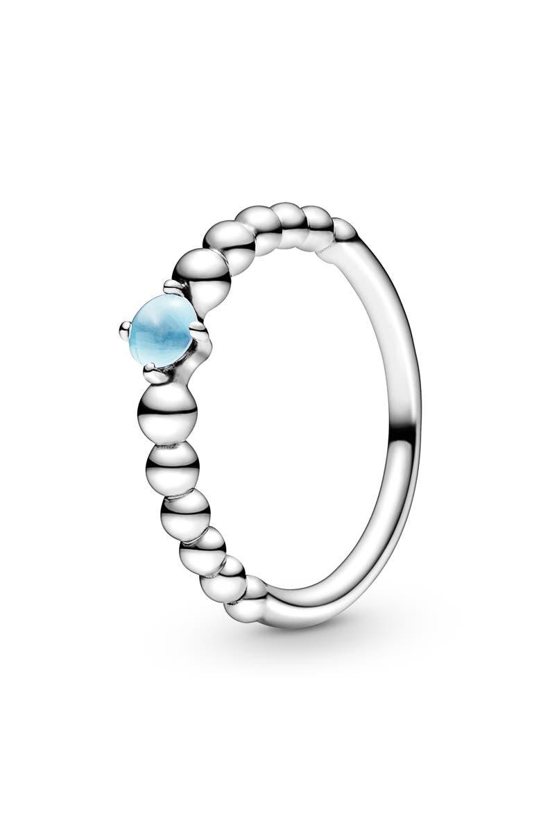 PANDORA Sky Blue Beaded Stacking Ring, Main, color, SILVER/ TREATED SKY BLUE TOPAZ