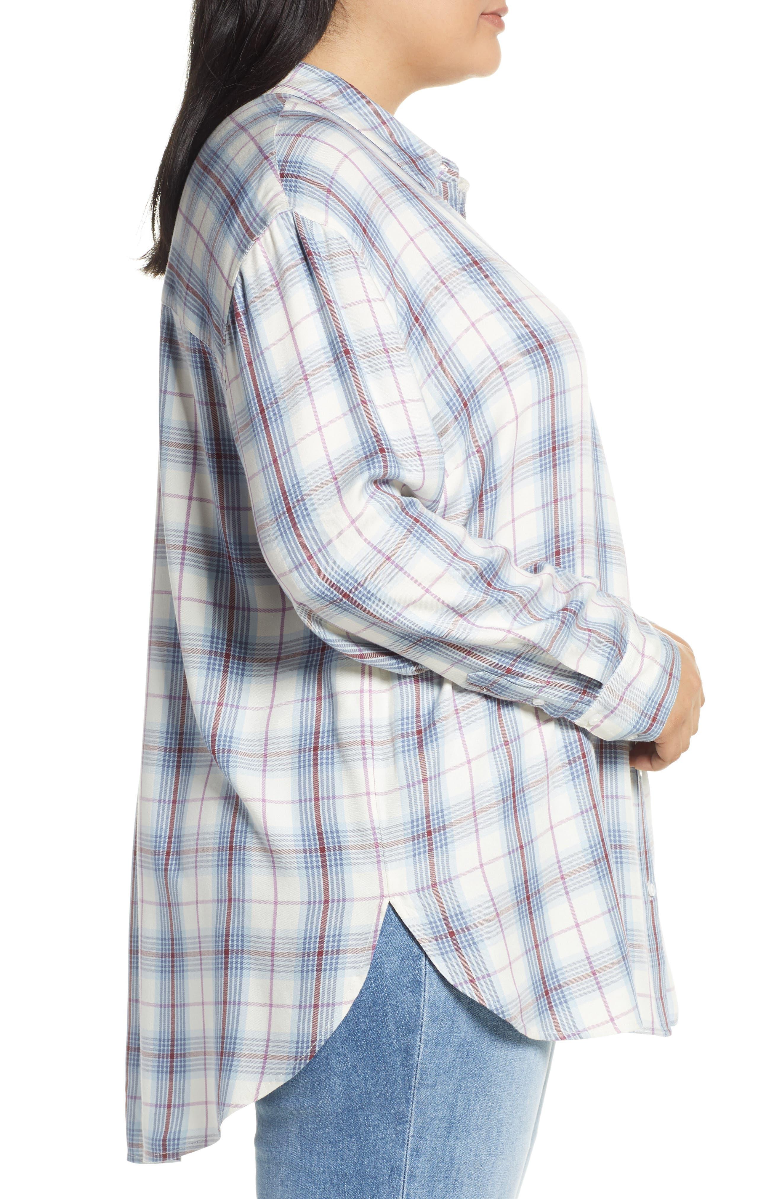,                             Lightweight Boyfriend Shirt,                             Alternate thumbnail 3, color,                             IVORY TARTINE PLAID