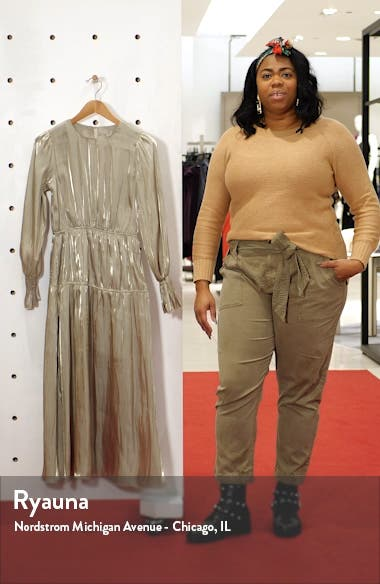 Smocked Long Sleeve Midi Dress, sales video thumbnail