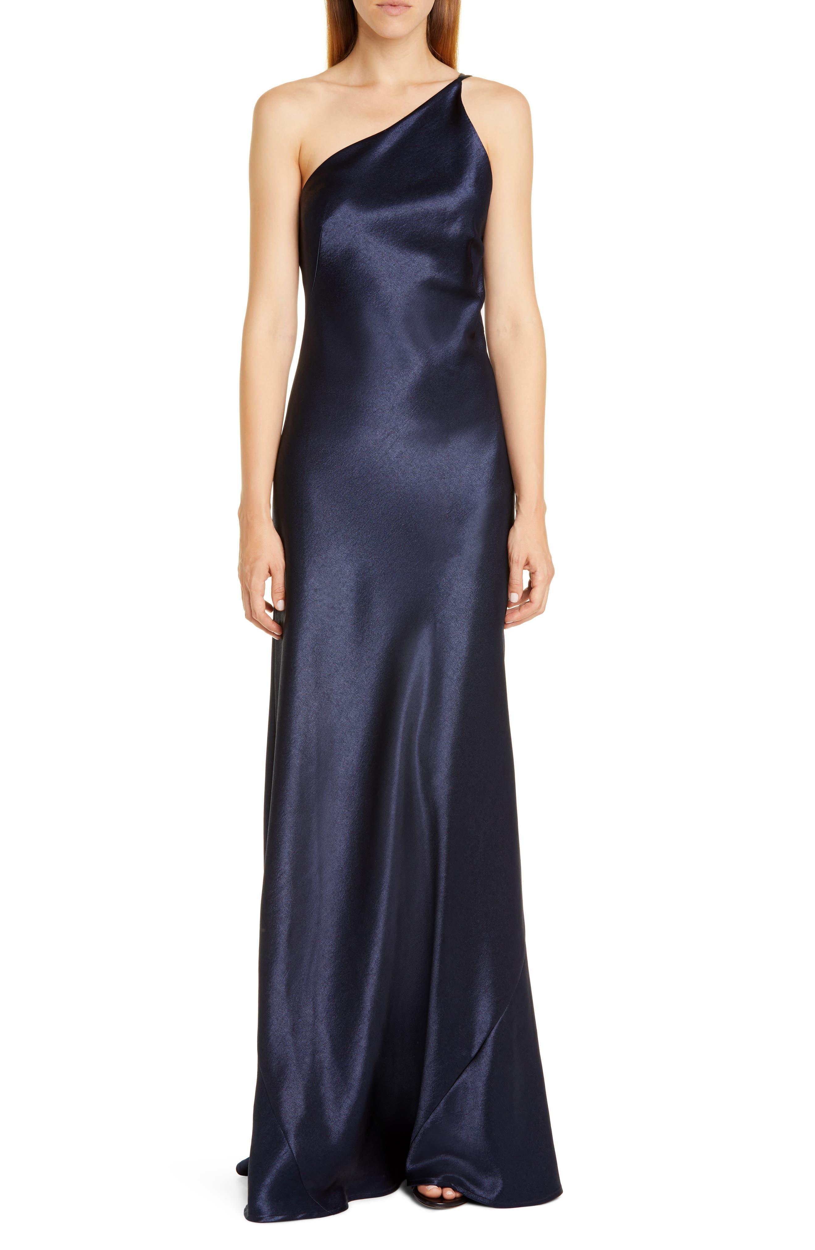 Galvan One-Shoulder Satin Gown, 4 FR - Blue