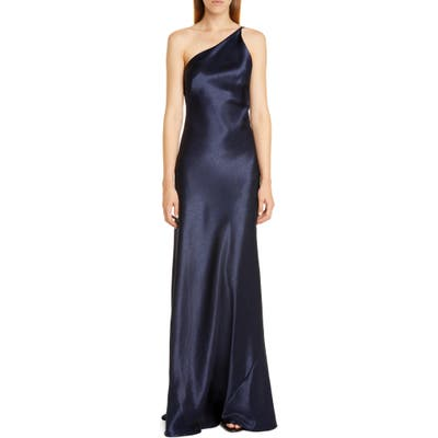 Galvan One-Shoulder Satin Gown, 6 FR - Blue