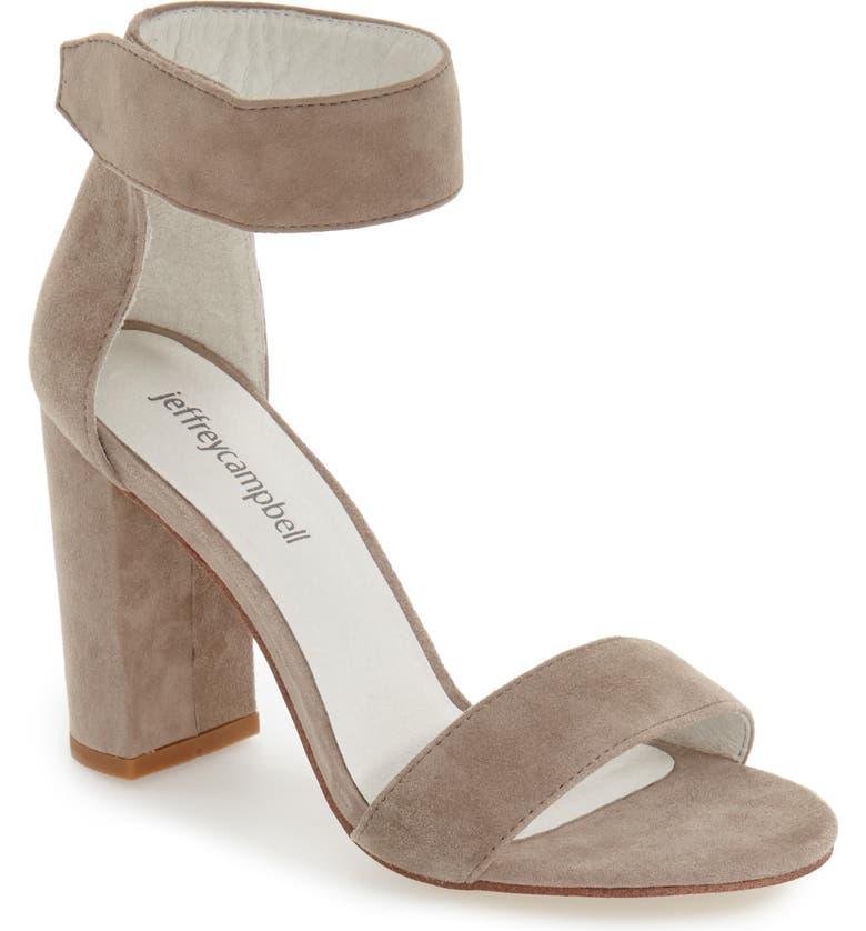 JEFFREY CAMPBELL Lindsay Ankle Strap Sandal, Main, color, TAUPE SUEDE