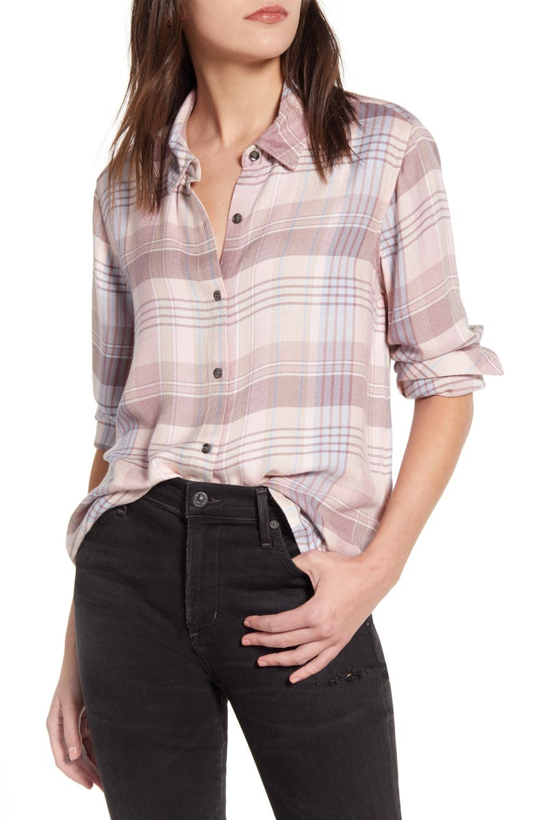 SPLENDID Sanctuary Plaid Button-Up Shirt, Main, color, SOFT BLUSH