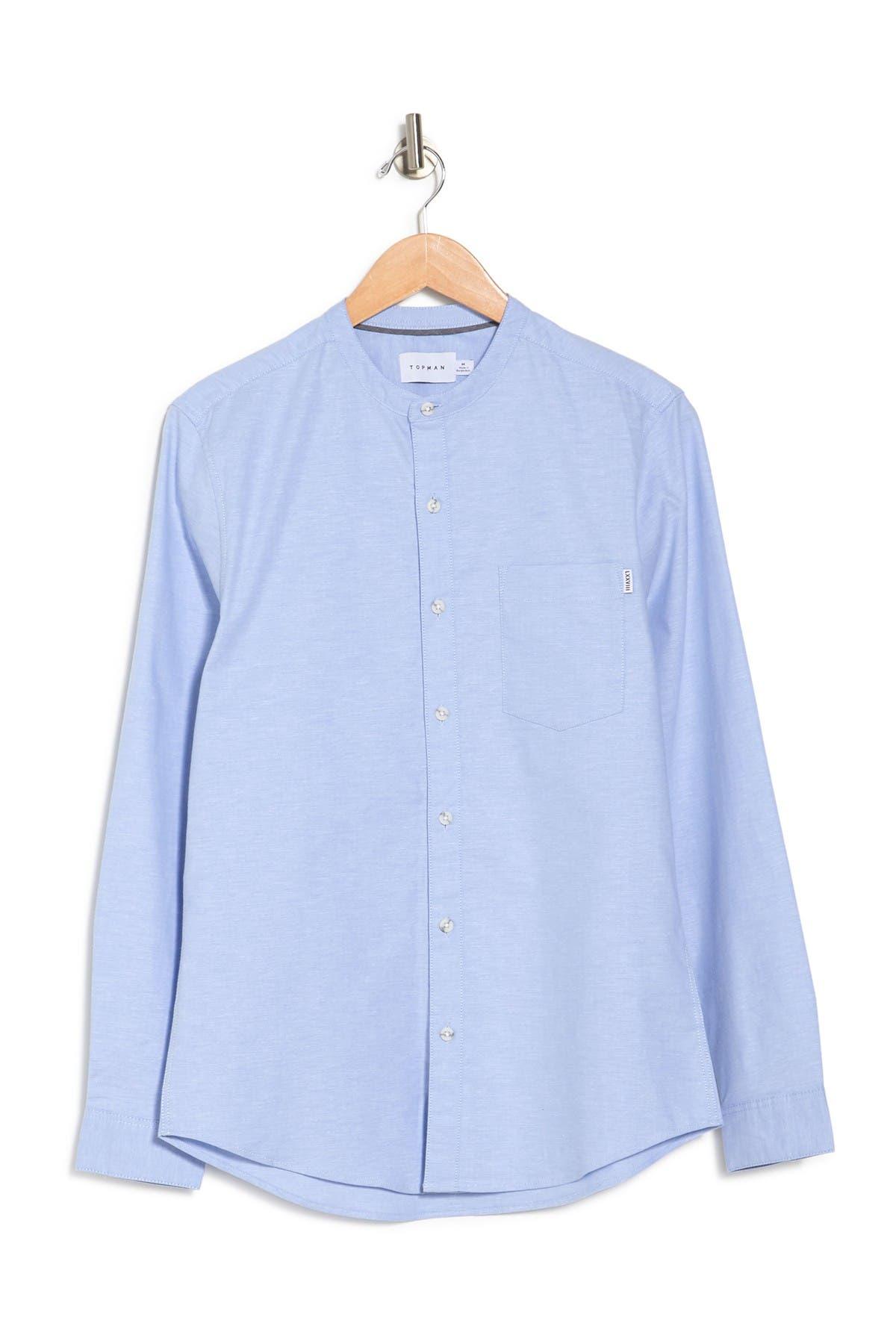 Image of TOPMAN Heathered Band Collar Shirt