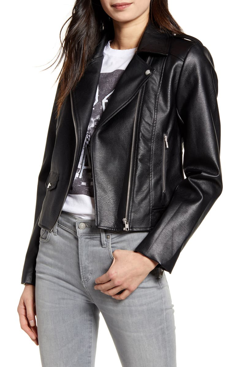 CUPCAKES AND CASHMERE Roxy Faux Leather Moto Jacket, Main, color, BLACK