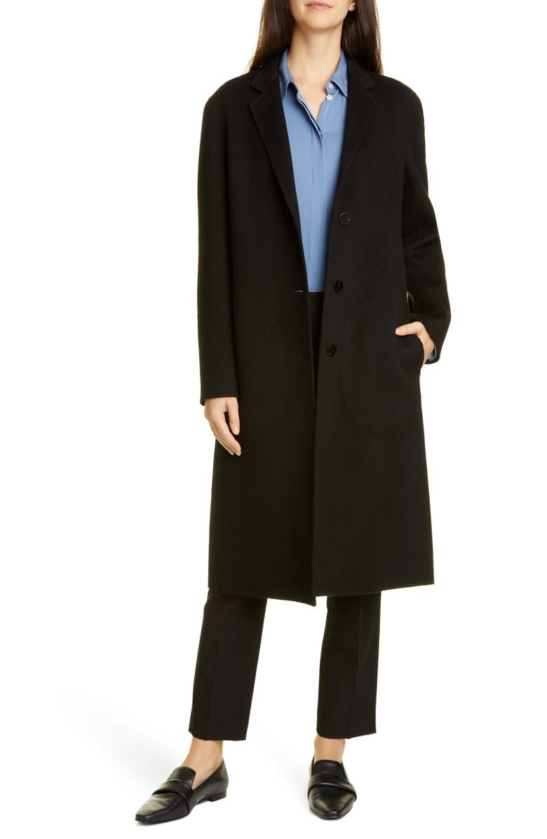 THEORY Classic Wool & Cashmere Coat, Main, color, BLACK