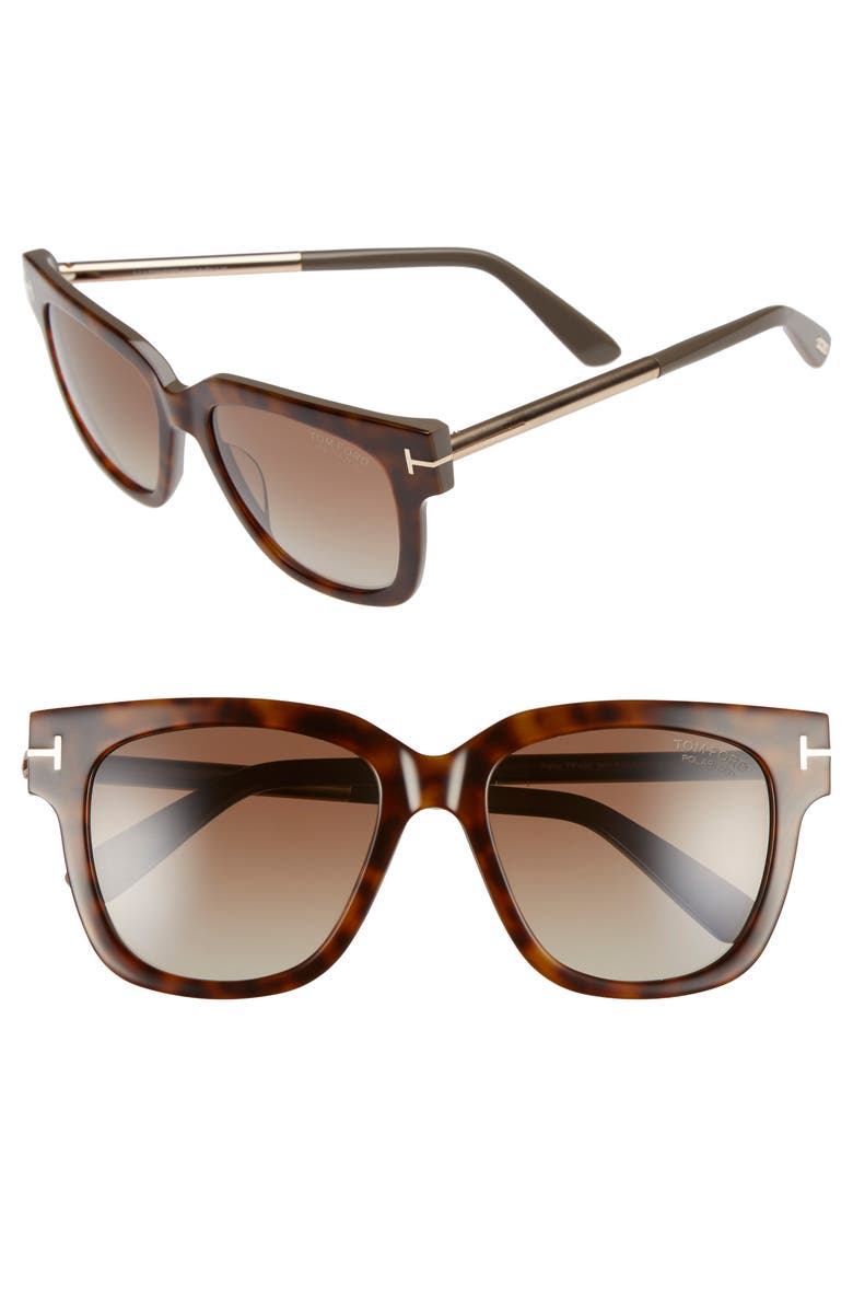 TOM FORD Tracy 53mm Polarized Square Sunglasses, Main, color, 257