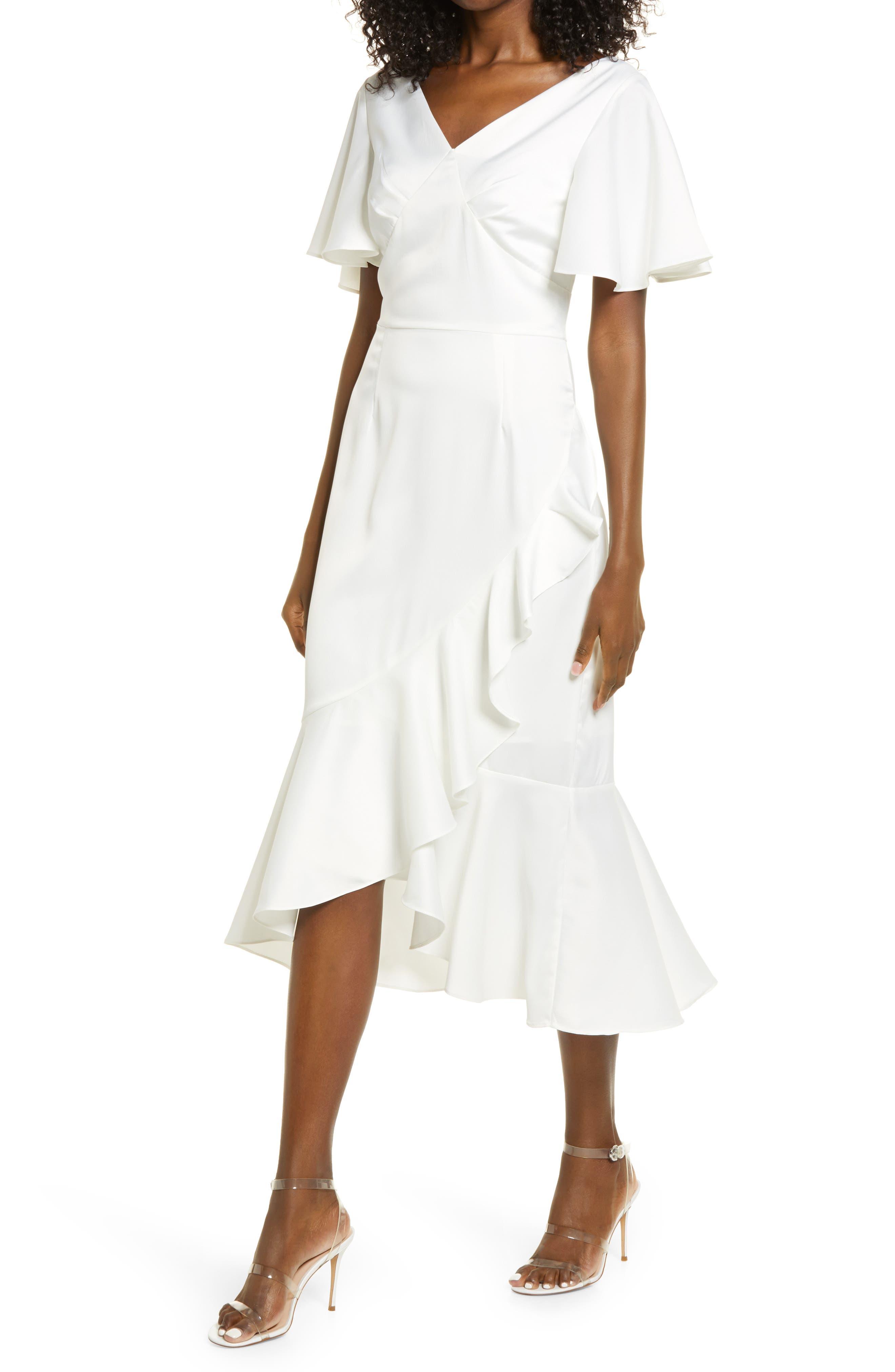 V-Neck Ruffle Midi Tea Dress