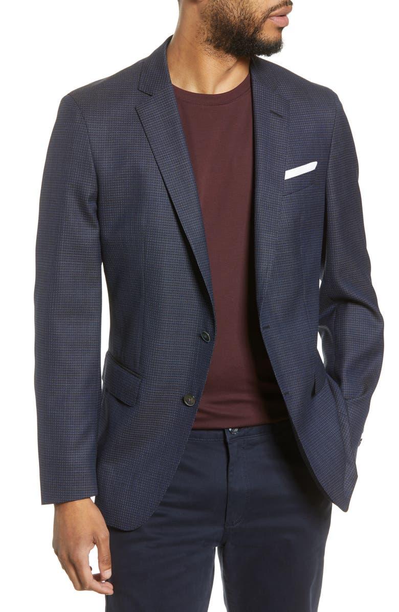 BOSS Hartlay Trim Fit Check Wool Sport Coat, Main, color, NAVY