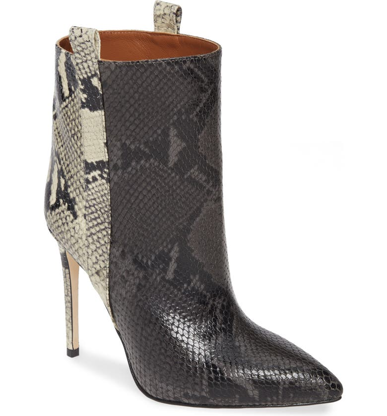 PARIS TEXAS Snake Embossed Leather Bootie, Main, color, GREY/ NATURAL SNAKE