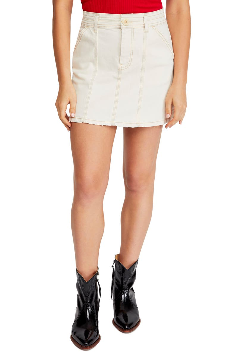 FREE PEOPLE Topstitch Detail Miniskirt, Main, color, 104