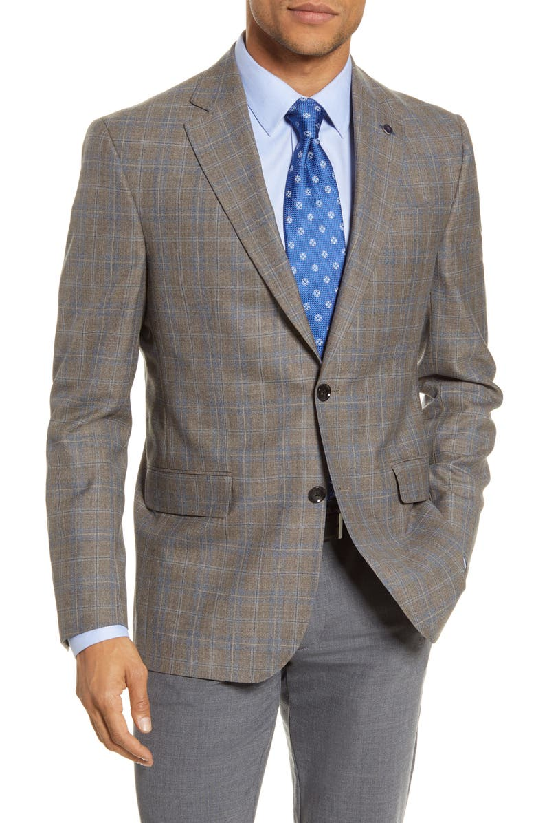 TED BAKER LONDON Jay Trim Fit Plaid Wool Sport Coat, Main, color, 280