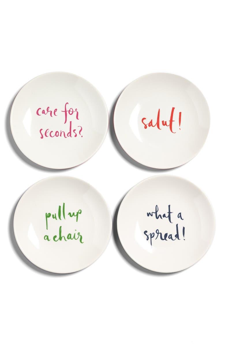 KATE SPADE NEW YORK 'salut!' tidbit plates, Main, color, 100