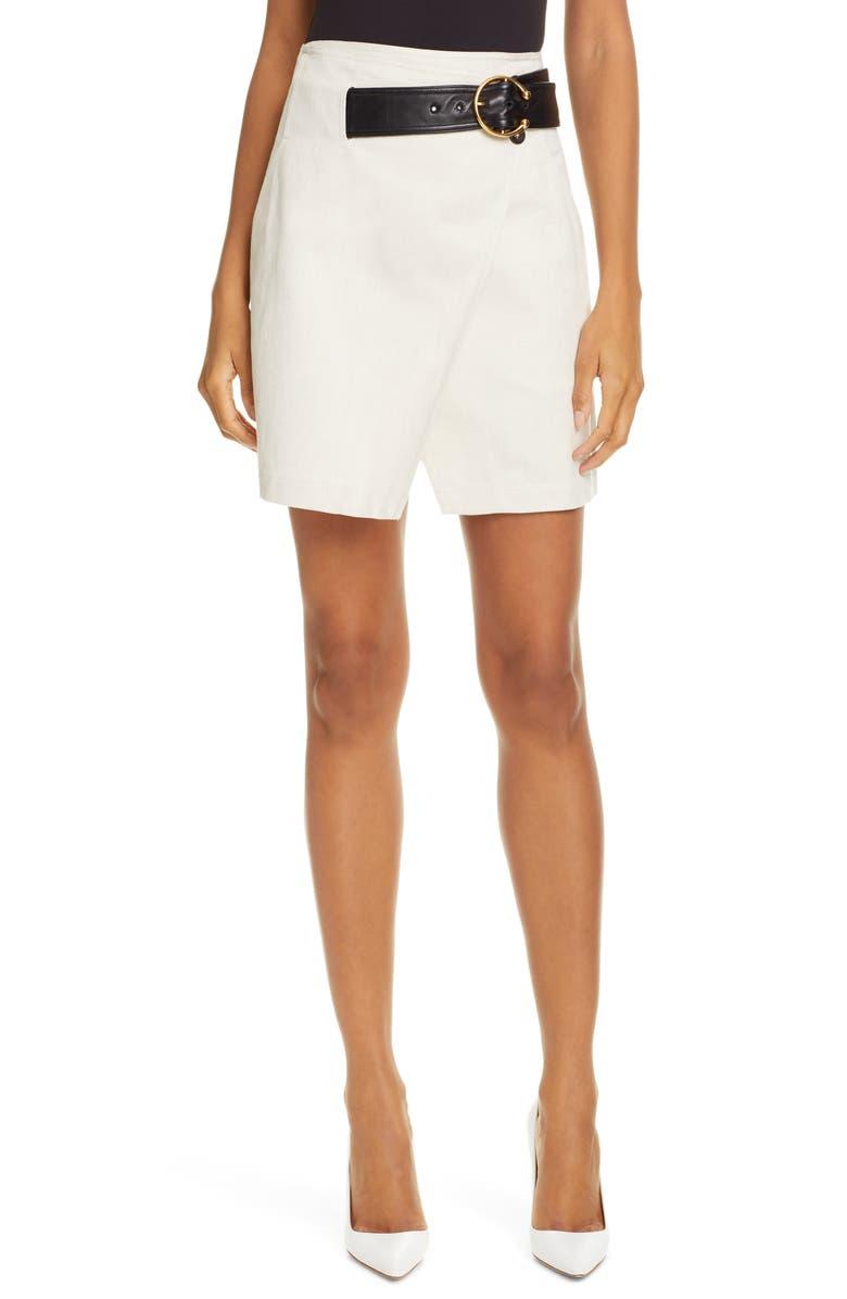 A.L.C. Cami Cotton & Linen Wrap Skirt, Main, color, 900