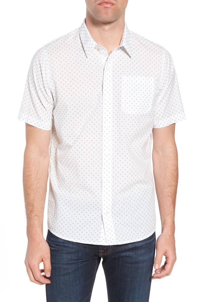 TRAVISMATHEW Travis Mathew Nangs Print Sport Shirt, Main, color, WHITE