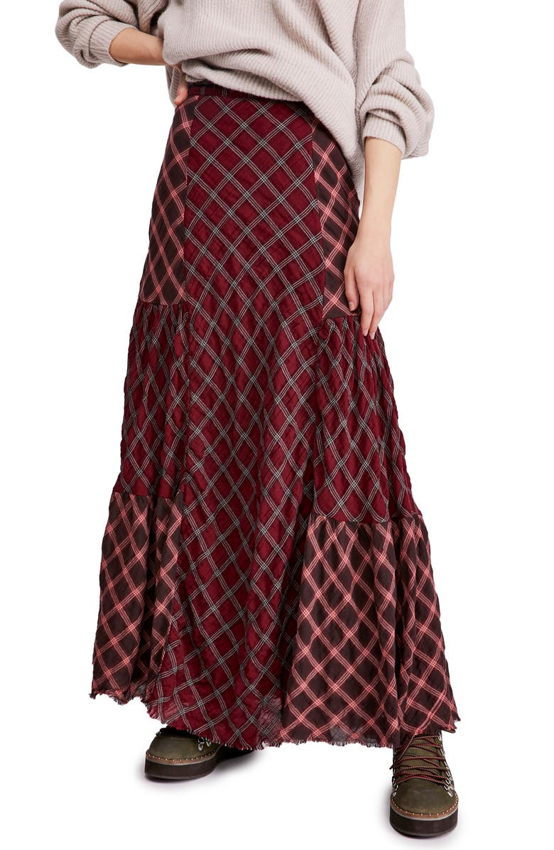 FREE PEOPLE Prairie Dreams Maxi Skirt, Main, color, WINE