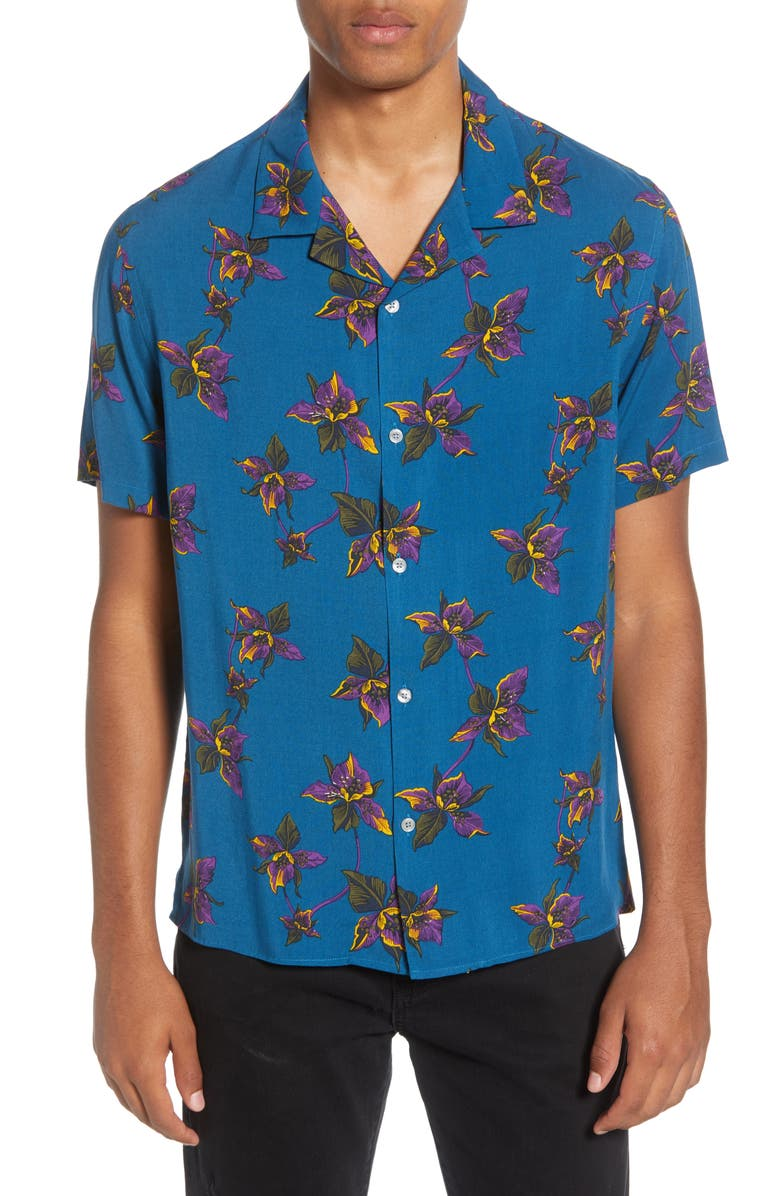 THE KOOPLES Floral Short Sleeve Button-Up Camp Shirt, Main, color, 400