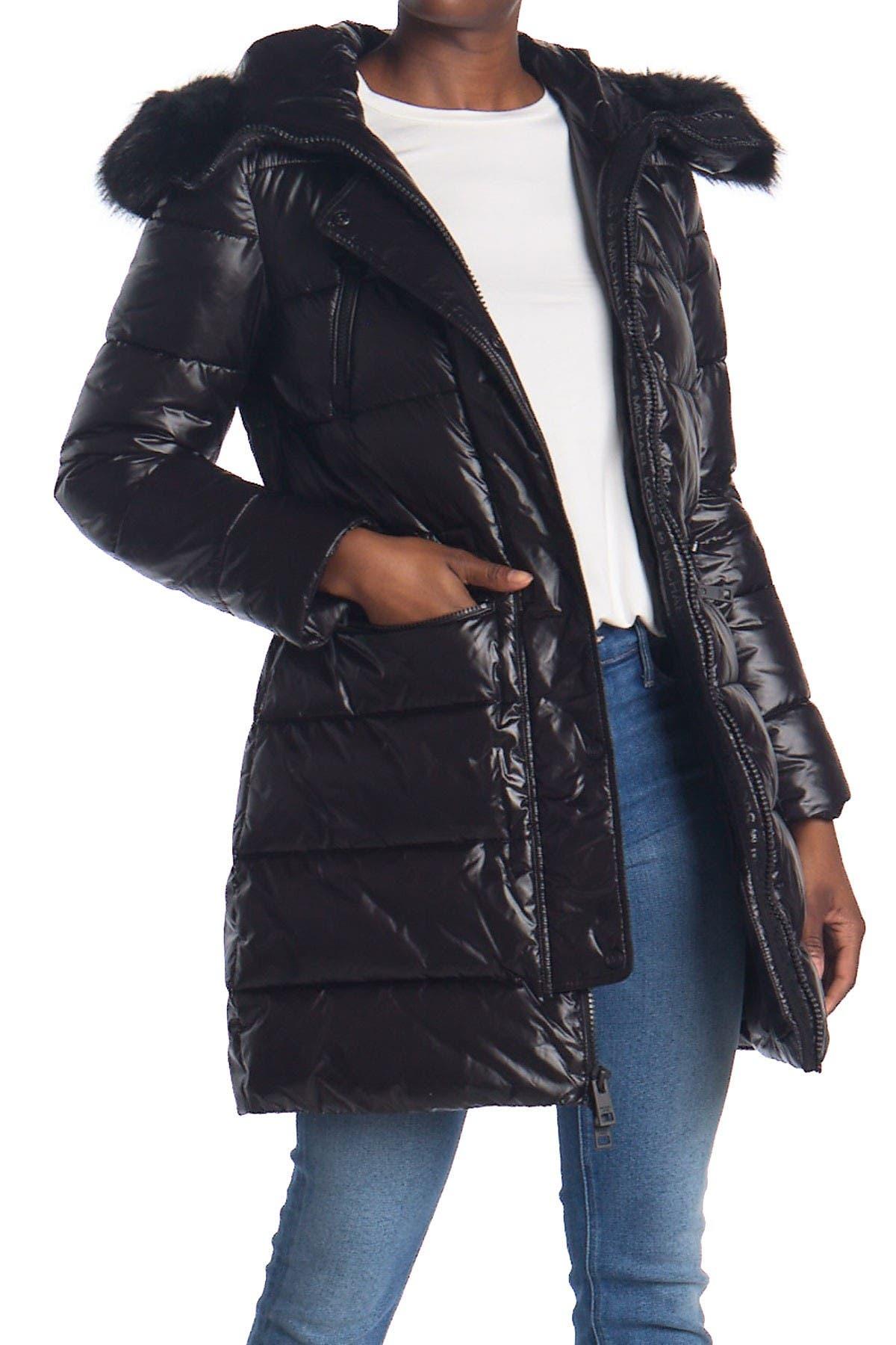 Image of Michael Kors Belted Faux Fur Hooded Jacket