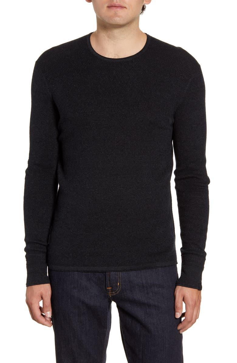 RAG & BONE Davis Slim Fit Crewneck Sweater, Main, color, BLK