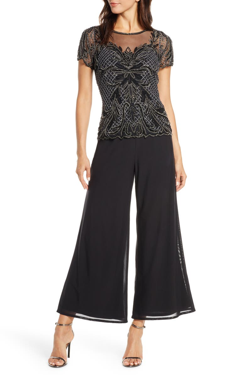 PISARRO NIGHTS Embellished Wide Leg Jumpsuit, Main, color, BLACK