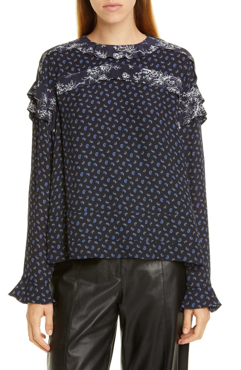 JASON WU Paisley Ruffle Blouse, Main, color, 419