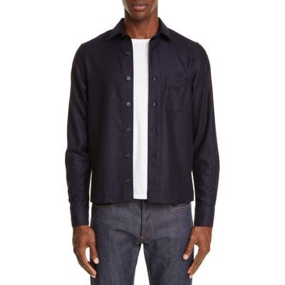 Officine Generale Wool Flannel Overshirt, Blue