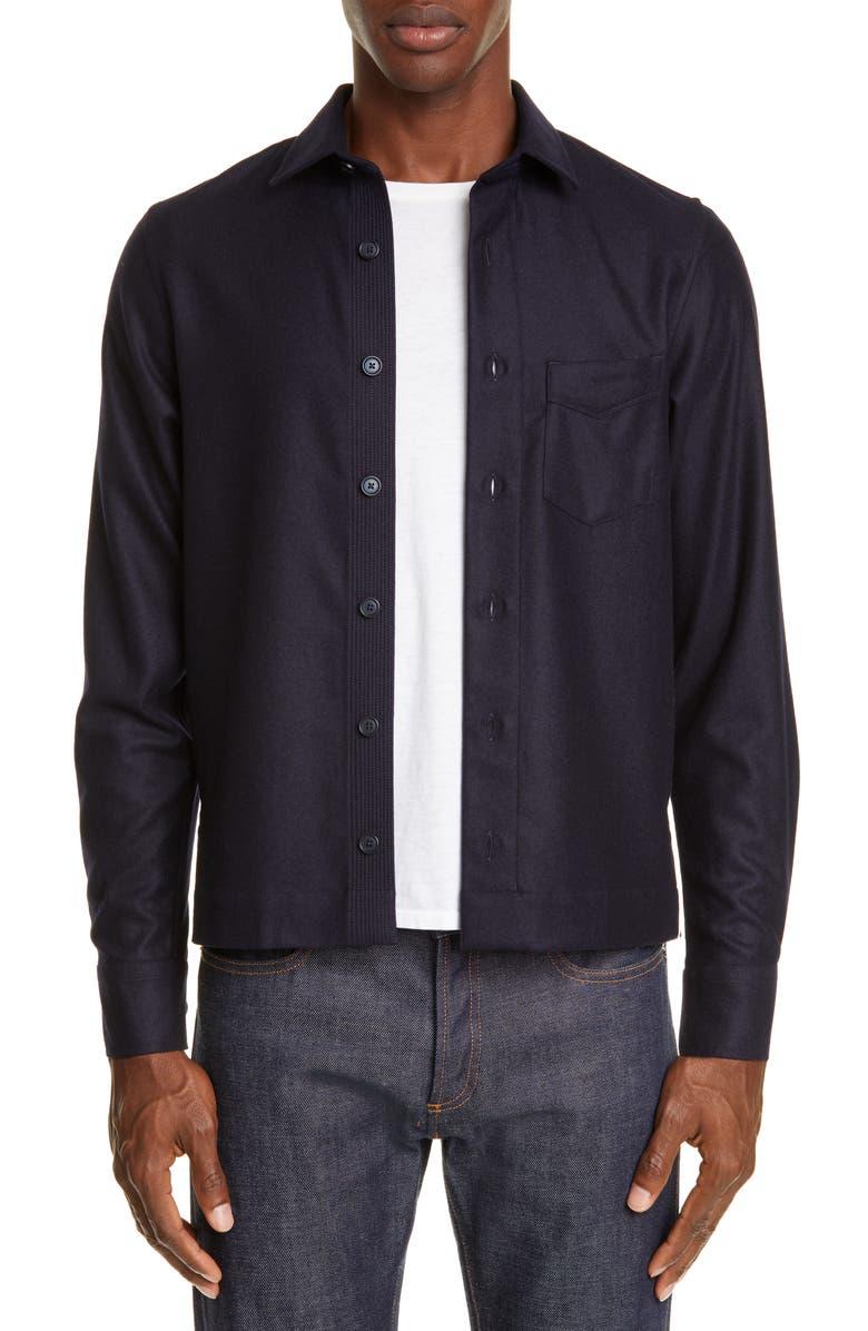 OFFICINE GÉNÉRALE Wool Flannel Overshirt, Main, color, NAVY